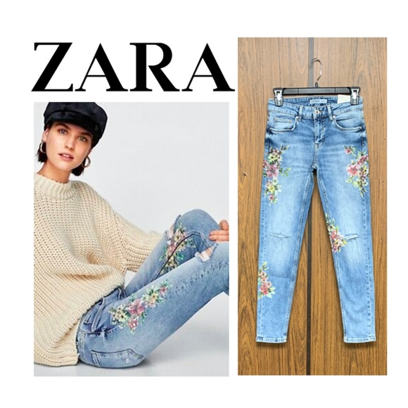 Zara Denim - NEW Zara Mid Rise Laser Floral Print Skinny Jeans